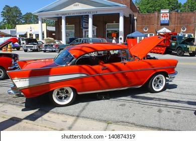 "MATHEWS, VA- JUNE 01:57 Chevy Belair in the Annual: Vintage TV's ""Chasing Pavement Vintage Automotive Festival"" in Mathews, Virginia on June 01, 2013"