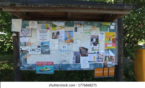 MATHILDEDAL, FINLAND – JULY 15 2020. A bulletin board in the center of the village.