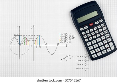 Maths background - calculator and sine-function