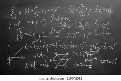 Maths formulas written by white chalk on the blackboard background.