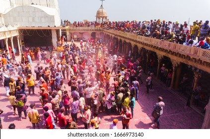 Mathura holi festival. people playing holi with colors in nand gaon, Uttar Pradesh/ India - March 5 2020