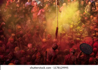 MATHURA, INDIA - Feburary 25,2018: Traditional holi festival.Holi Festival is a religious celebration of some kind of ''gospel''. People celebrate of refreshing,fertility and upcoming spring