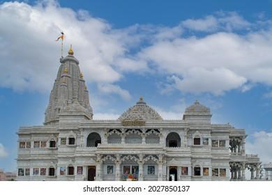 Mathura vrindavan prem mandir with cloudy weather. - Shutterstock ID 2027850137