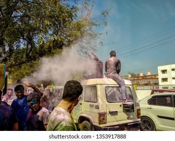 Mathura Vrindavan, Uttar Pradesh, India; 21-Feb-2019; Holi celebration on streets of Vrindavan