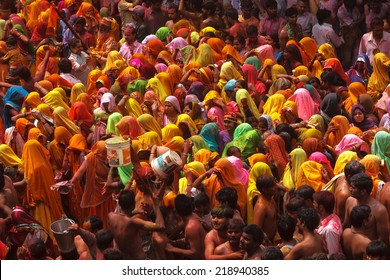 MATHURA,INDIA - 28/03/2013 : Traditional holi festival.Holi Festival is a religious  celebration of some kind of ''gospel''. People celebrate of refreshing,fertility and upcoming spring