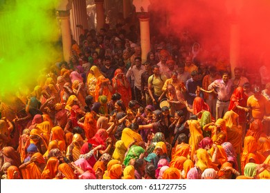 Mathura,India- March 14,2017 : Traditional and religious Holi Festival in Dauji Temple near Mathura in India.People celebrate fertility of spring and enjoy the colorful festival.
