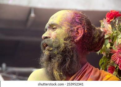 Mathura,Uttar Pradesh/India 26th Tuesday March 2013 - People of mathura enjoying holi with colors in mathura, India.