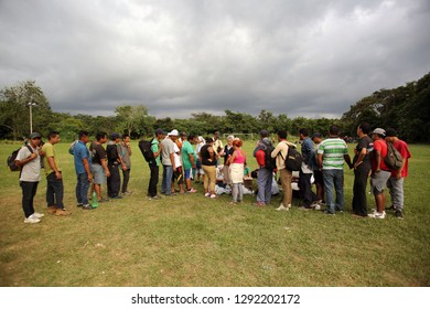 Matias Romero, Oaxaca/Mexico - Nov. 10, 2018: Salvadorans fleeing poverty and gang violence in the third caravan to the U.S. line up to receive medical aid from volunteer nurses.