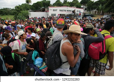 Matias Romero, Oaxaca/Mexico - Nov. 10, 2018: Salvadorans fleeing poverty and gang violence in the third caravan to the U.S. gather to wait for trucks to take them to their next stop in Veracruz.