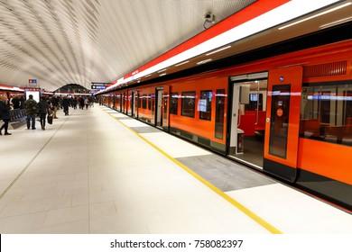 MATINKYLA, FINLAND - NOVEMBER 19, 2017: Subway in recently opened Matinkyla metro station in Espoo, Finland on November 19, 2017
