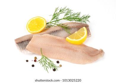 matjes, filets of herring isolated over white background