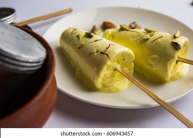 Matka Kulfi is type of Indian Ice Cream served in a plate