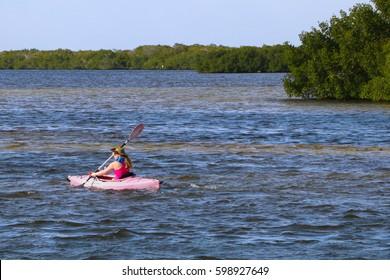 Matlacha, Florida - March 2017 - Girl Paddling in Pink Kayak