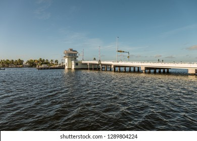 Matlacha Pass Bridge with bascule - the connection between  Matlacha Isles and Pine Island - Lee County, Southwest Florida