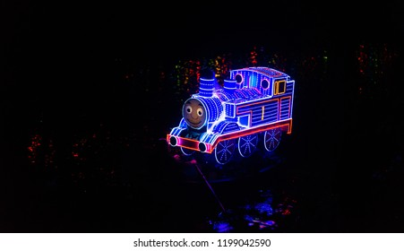 MATLOCK BATH, ENGLAND - OCTOBER 6TH, 2018: Thomas the Tank Engine float shown off in the Matlock bath Illuminations