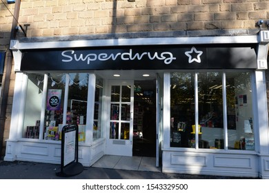 MATLOCK, UNITED KINGDOM, 27th October, 2019: The shop entrance to the local branch of Superdrug chemists and beauty product retailer