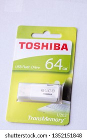 MATLOCK, UNITED KINGDOM, 28th March 2019: A promotional editorial closeup of the Toshiba 64gb flash drive transmemory stick product