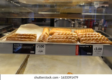 MATLOCK, UNITED KINGDOM, 2nd February, 2020: Greggs sausage rolls keeping warm and ready to be served to customers in the Matlock branch of the fast food retailer