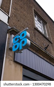 MATLOCK, UNITED KINGDOM - JANUARY 31, 2019: A co-op co-operative shop front sign on the high street