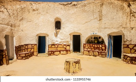 Matmata, Tunisia, July 02, 2018: Traditional underground house of local residents - the Berbers, called troglodytes.