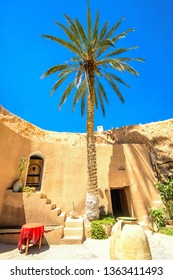 MATMATA, TUNISIA -  JULY 04, 2017: Courtyard of berber underground dwellings. Troglodyte house.  North Africa