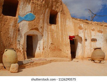 MATMATA TUNISIA OCTOBER 15 2007:   Traditional Berber troglodyte underground building was one of the places for scenes of Star Wars Episode IV A New Hope & Star Wars: Episode II  Attack of the Clone