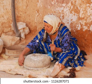 MATMATA TUNISIA OCTOBER 15: Unidentified old woman living in troglodyte and every house on october 15 2007 in Matmata, Tunisia. Matmata was one of the places for scenes of famous film Star Wars