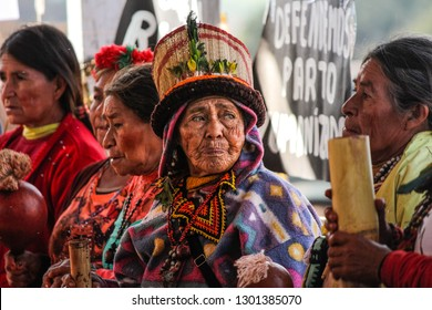 Mato Grosso do Sul / Brasil - Setembro18, 2018: Indigenous people at Aty Guasu Assembly, a Guarani-Kaiowá woman encounter. Raised money with sales goes to help them fund new meetings and events.