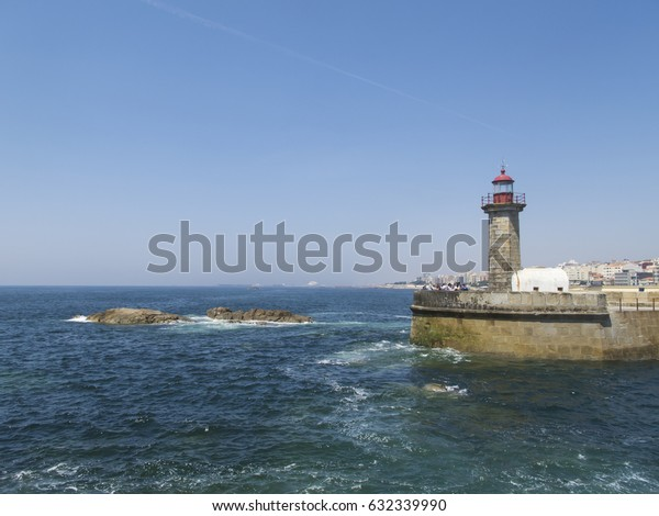 MATOSINHOS, PORTUGAL - APRIL 23: A view of Lighthouse and Atlantic Ocean from Matosinhos, Portugal in 2017