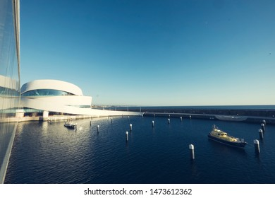 "Matosinhos, Portugal - September 19, 2015: Architecture of cruise terminal in Matosinhos (Porto) city in Portugal during Open Day (""Dia do Porto de Leixões"")."