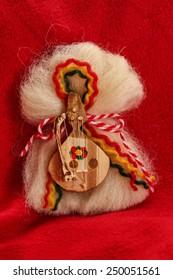 Matrenitsa - traditional Bulgarian custom - red background
