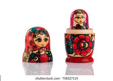 Matrioshka or babushkas dolls on a white background