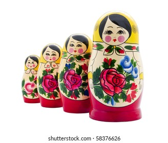 matrioshka doll isolated on white