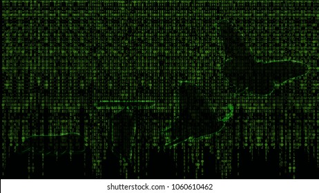 Matrix background of beautiful abstract digital Business transformation innovation. Data information technology changing like butterfly life cycle. Present professional success future growth concept