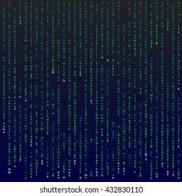 Matrix background with the green symbols, editable illustration.