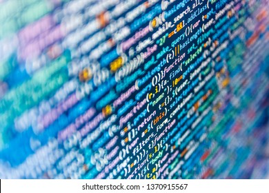 Matrix flat design. PHP development, software site code. HTML code on laptop screen. Abstract screen of software virus and coding technologies.