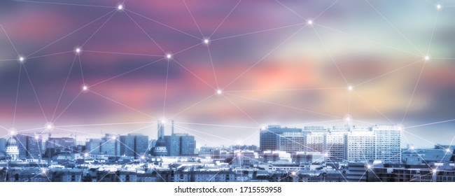 matrix mesh or matrix grid over cityscape berlin, germany, main subject out of focus, skyline at sunset, 5g net over the city, broadband internet for everyone