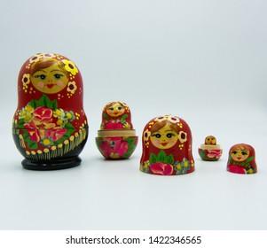 Matryoshka doll isolated on white background