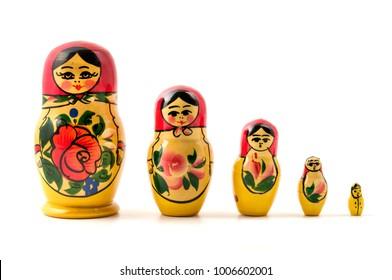 Matryoshka doll (little matron) on a white background