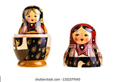 Matryoshka doll set isolated on a white background
