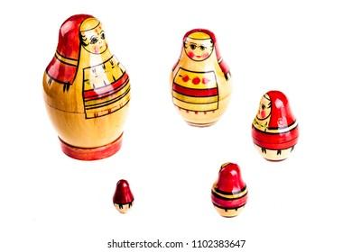Matryoshka doll set isolated on a white background