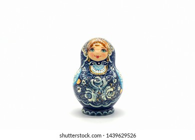 Matryoshka Dolls isolated on a white background. Russian Wooden Doll Souvenir. Russian nesting dolls, stacking dolls.