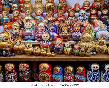 Matryoshka Dolls or Nesting Dolls Background. Izmailovsky Market. Kremlin Moscow Russia