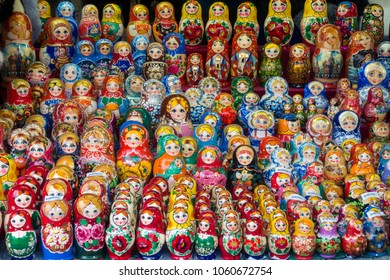 Matryoshka dolls or  Russian dolls at sell the market. It is Souvenir.