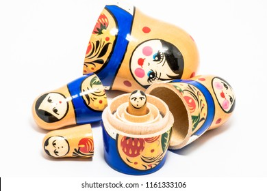 Matryoshka family. Russian doll on a White background. Matrioska art.