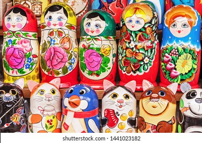 Matryoshka is a national Russian souvenir. Russian wooden doll matryoshka on the counter of the gift shop. Nested doll.