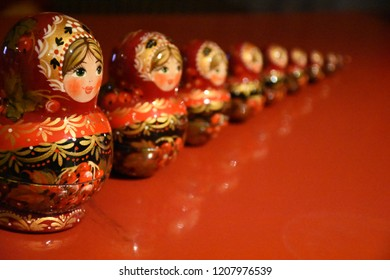 matryoshka on the red desk