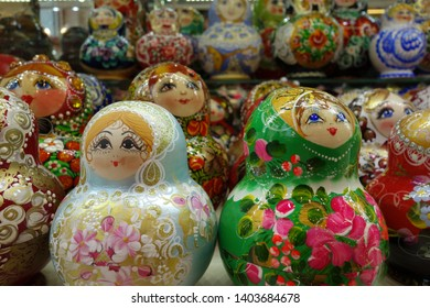 Matryoshka. Russian wooden doll in the form of a painted doll