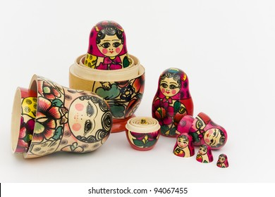 Matryoshka, a Russian wooden doll on a white background