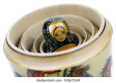 Matryoshka - Wooden Russian nesting doll opened and revealing  its heart. Picture taken in studio with soft-box.
